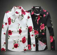 Spring Mens Floral Fashion Long Sleeve Dress Shirt Tops Slim Fit S-5XL