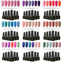 MTSSII 6 Bottles/Set UV LED Soak Off Nails Gel Polish Varnish Kit Base Top Coat