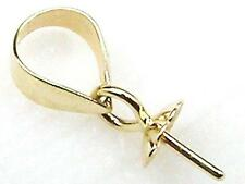 14K Solid Yellow Gold Pendant Clasp Pearl Bail Pin Setting