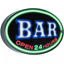 American Art Decor Bar Open 24 Hours Oval Shaped Led Light Up Sign Wall Decor