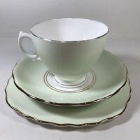 Royal Vale Bone China Teacup, Saucer, Side Plate Trio Set Vintage Green <15/3