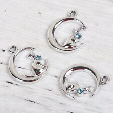 4 x Tibetan Silver Half Moon Cat with Blue Rhinestone Pendant Charms