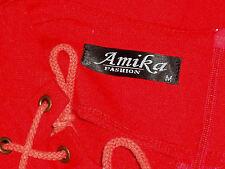 AMIKA FASHION LacedNeckKeyholeRedJersey3/4Slv SzM