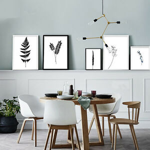 Black White Plant Leaves Nordic Canvas Poster Wall Art Prints Home Decor