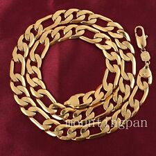 "24""Heavy Real Figaro Chain 24k Solid Gold Filled Mens Necklace Chain 12mm"
