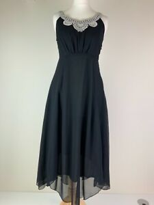 Planet black chiffon sleeveless dress crochet detail at neck & scalloped hem