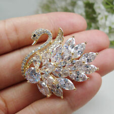 Zircon Crystal Luxurious Clear Swan Bird Woman Brooch Pin Holiday Gifts