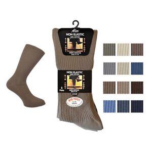 Mens Big Foot Non Elastic Socks 100% Cotton Wide Fit Ideal for Diabetic Aler