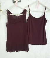Ann taylor loft tank top sz small Lot / set Of 2 burgundy wine plum linen EUC