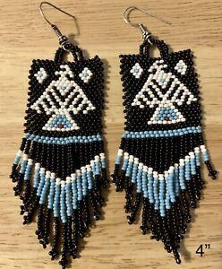 "Native American Style 4"" Long Beaded Earrings"