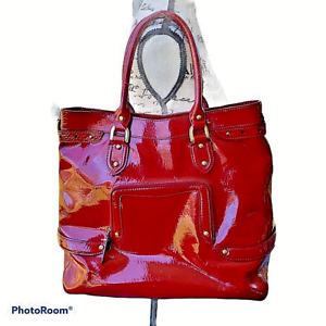 Cole Haan Patent Leather Large Red Satchel Handbag