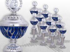10er Pokalserie Pokale BLUE STARLIGHT mit Gravur günstige Pokale silber / blau