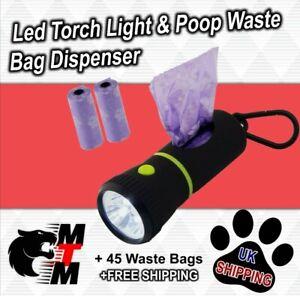 Led Torch Light Dog Poo Poop Waste Bag Dispenser with 45 Waste Bags
