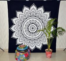 Queen Black & White Mandala Tapestry Wall Hanging Hippie Home Decor Bedspread