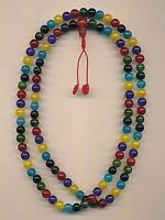 Bunte Mala mit 108 Perlen (8mm) gems Handarbeit Edelstein Mix 83d