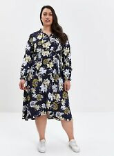 Evans Womens Plus Size Blue Floral Print Tie Neck Skater Dress Everyday Casual