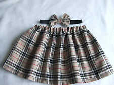 Beige Tartan Skirt and Bow Headband Set, Baby Girls Headwrap Hair tie Headwrap
