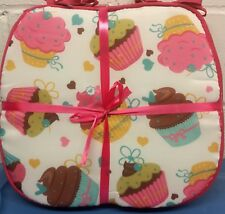 """Set of 4 CHAIR PADS CUSHIONS w/strings, CUPCAKES ON WHITE, 15"""" x 15"""" by BH"""