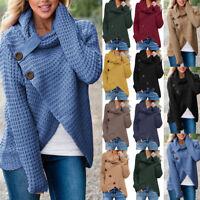Women Long Sleeve Button Knit Sweater Jumper Cardigan Knitwear Outwear Tops