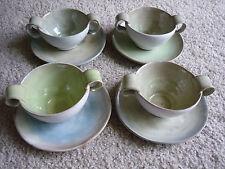 LOVELY ART POTTERY SET OF 4 CREAM SOUPS & PLATES BY MARY ERCKENBRACK: MARY E.