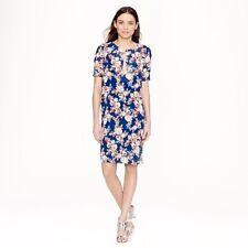 J. Crew blue antique floral silk shift dress US 4 UK 10 VGC