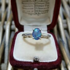 Australian Opal Sterling Silver Ring, Engagement Solitaire Ring, Size T 1/2
