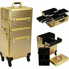 Ver Beauty 2-in-1 Professional Hair Stylist Makeup Rolling Case, Gold Stripes