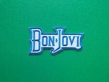 HEAVY METAL PUNK ROCK MUSIC SEW ON / IRON ON PATCH:- BON JOVI (c) BLUE & WHITE
