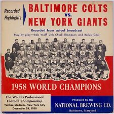 """BALTIMORE COLTS VS NEW YORK GIANTS: National Brewing Company 7"""" 45 Vintage Beer"""