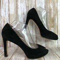 Via Spiga Womens 8.5W Peep Toe Black Suede Pumps Formal