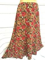 M&S Marks & Spencer Midi Skirt Red & Brown Floral Mix Stretch Waist - UK 12