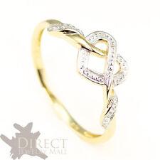 9ct GOLD GENUINE DIAMOND Celtic Heart Knot Wedding Engagement Ring Full Size