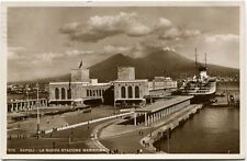 1937 Napoli Nuova Stazione Marittima Nave Vesuvio Mare Passanti FPB/N VG ANIM