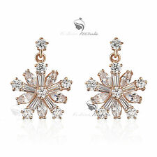 18k rose gold gf made with SWAROVSKI crystal snowflake stud dangle earrings