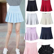 Women High-waist Pleated Zip Tennis Skirts Skater Casual Mini Skirt Shorts UK