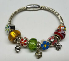 FLOWERS Charm Cuff Bangle Bracelet Glass European Style Bead Balls Crystal>NEW<