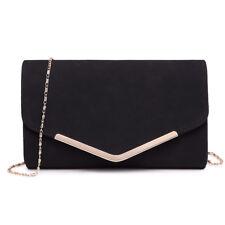 Ladies PU Leather Chain Envelope Clutch Evening Bag Shoulder Cross Body Handbag Black