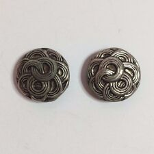 2 Vintage Silver Tone Metal Sewing Buttons - Swirl & Weave Design