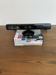 Genuine Microsoft Xbox 360 Kinect Sensor Black Official Motion Sensor + x4 Games