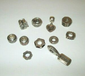 Designer Chamilia Sterling 11 Mixed Charm Bead Lot It`s a girl Bride/groom Honor