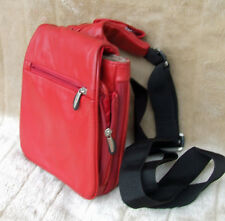 TRAVELON LEATHER SHOLDER/CROSS BODY EXPAN,,LOTS POCKETS OGANIZER BAG UNUSED RED