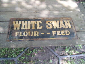 Rare Vintage 1940s Original White Swan Flour Feed Metal Sign Springfield MN