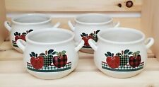 New listing Ingleman Designs Plaid Red Green Apple French Onion Soup Bowls Set of Four (4)