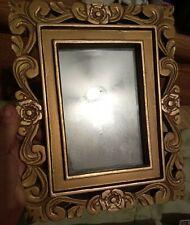 Vintage Decorative Gold Vanity Mirror, or photo frame, roses, burwood style