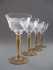 Vier toll geschliffene Weingläser original aus der Zeit des Art Deco um 1940