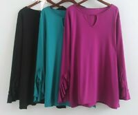 Womens Clothing isaac mizrahi Plus Size Solid Tunic Top Ruffle Long Sleeve Rayon