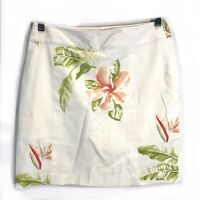 Tommy Bahama Women's Silk Blend Floral Embroidered Ivory Skirt Size 4