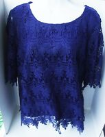 ADIVA NAVY BLUE THICK FRENCH LACE LINED POLYESTER SHORT SLEEVE TOP BLOUSE 1X NEW
