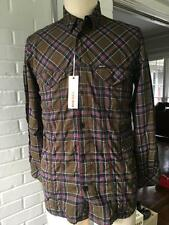 Diesel Men's patterned plaid shirt 100% cotton Size Small, long sleeve brown