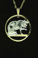 """Cat (British Blue) Pendant & Necklace Isle Of Man Coin 1-1/8"""" diameter ( # 732 )"""